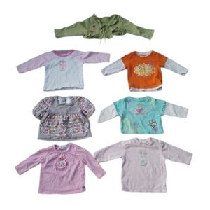 Lot of 7 Baby Girl Shirts & Tops, 6, 6-9m